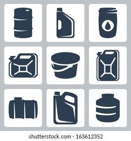 Vector cans and barrels icons set