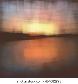 Vector canvas painting. Landscape. Sunset.