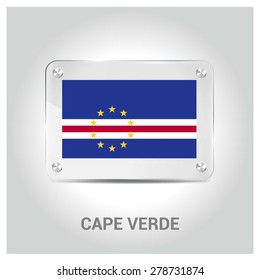 Vector Cape Verde Flag glass plate with metal holders - Country name label in bottom - Gray background vector illustration