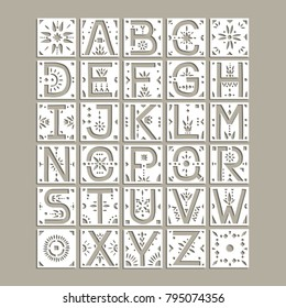 Vector capital alphabet. Squares with cut letters and geometric patterns for a laser cutting template of paper and vinyl. For wedding design, monograms, initials.