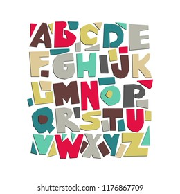 Vector capital cut out alphabet. Multicolored paper letters.