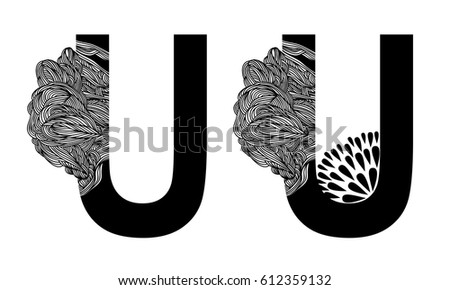 Vector Capital Letter U Line Floral Stock Vector Royalty Free