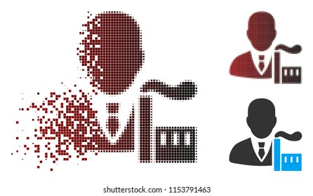 Vector capitalist oligarch icon in dispersed, dotted halftone and undamaged whole variants. Disintegration effect uses square scintillas and horizontal gradient from red to black.