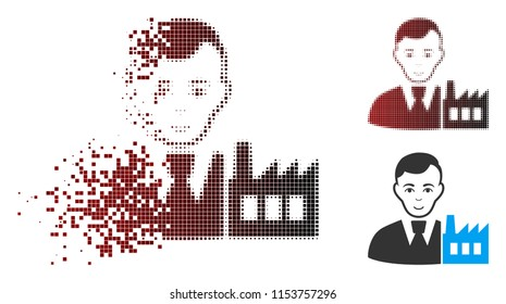 Vector capitalist oligarch icon in fractured, dotted halftone and undamaged solid versions. Disappearing effect involves rectangular scintillas and horizontal gradient from red to black.