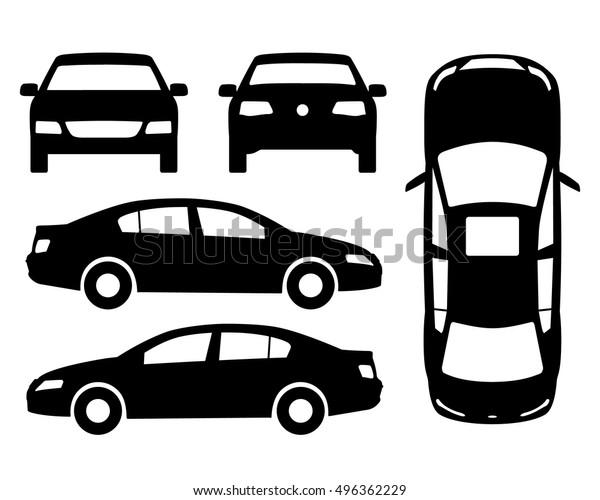 Vector Car Black White Four View Stock Vector (Royalty