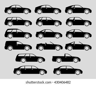 Vector car body icon set