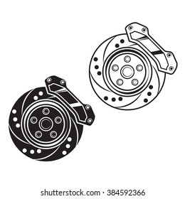 Vector car brake. For print, logo, banner, sticker, label.