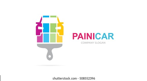 Vector of car and brush logo combination. Auto and paintbrush symbol or icon. Unique repair and automobile logotype design template.