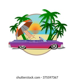 Vector car cadillac with palms, beach, sun. Miami automotive travel illustration. Leisure vacation in America print. Auto cabriolet decoration