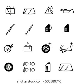 Vector car gas station check icons