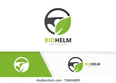 Vector car helm and leaf logo combination. Steering wheel and eco symbol or icon. Unique rudder and organic logotype design template.