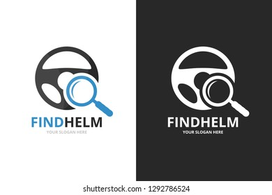 Vector car helm and loupe logo combination. Steering wheel and magnifying symbol or icon. Unique rudder and search logotype design template.