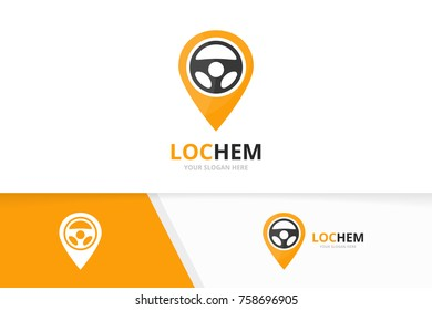 Vector car helm and map pointer logo combination. Steering wheel and gps locator symbol or icon. Unique rudder and pin logotype design template.
