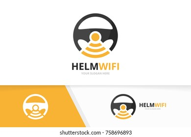 Vector car helm and wifi logo combination. Steering wheel and signal symbol or icon. Unique rudder and radio, internet logotype design template.
