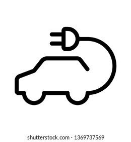 vector car icon. Hybrid Vehicles logo.  Eco friendly auto or electric vehicle