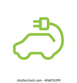Vector car icon in thin line style. Hybrid Vehicles logo. Green logotype. Eco friendly auto or electric vehicle concept on white background.