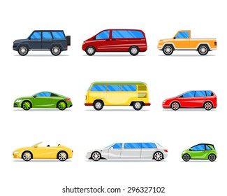 Vector car icons in flat style. Jeep and cabrio, limousine and hatchback, van and sedan illustration