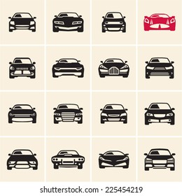 vector car icons front view