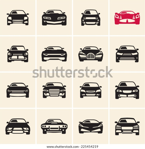 Vector Car Icons Front View Stock Vector Royalty Free 225454219
