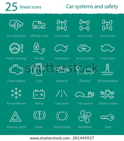Vector Car Interface Thin Line Icons Stock Vector Royalty Free