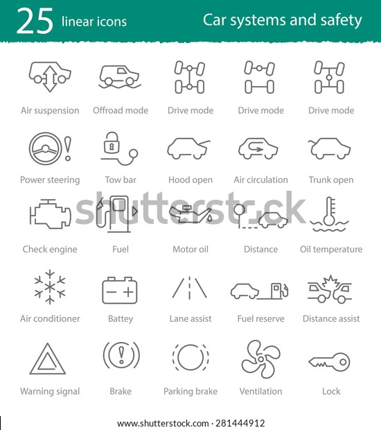 Vector car interface thin line icons set for web design, application or infographics