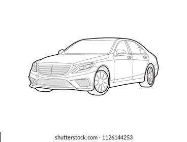 Vector car layout for coloring. Mercedes-Maybach S-Class.
