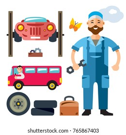 Vector Car Mechanic. Flat style colorful Cartoon illustration