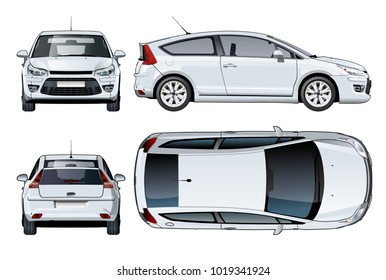 Vector car mockup isolated on white. Available EPS-10 vector format separated by groups and layers with transparency effects for one-click repaint