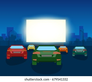 Vector Car Open Air Cinema. Vintage Illustration With Cars And Night City, Romantic Event