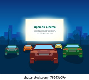 Vector Car Open Air Cinema Card Poster. Vintage Illustration With Cars And Night City, Romantic Event