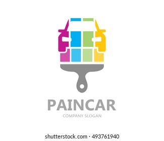 Vector car paint logo template design. Creative symbol or icon