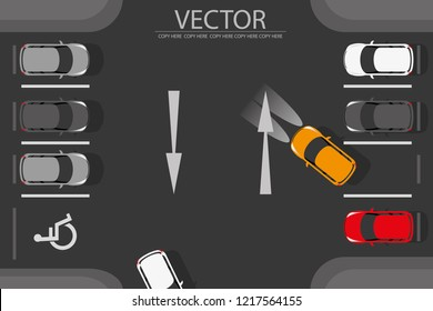 vector car park lane and arrow direction.Disabled symbol