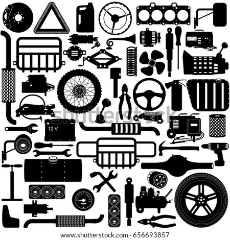 Vector Car Parts Pictogram Stock Vector Royalty Free 656693857
