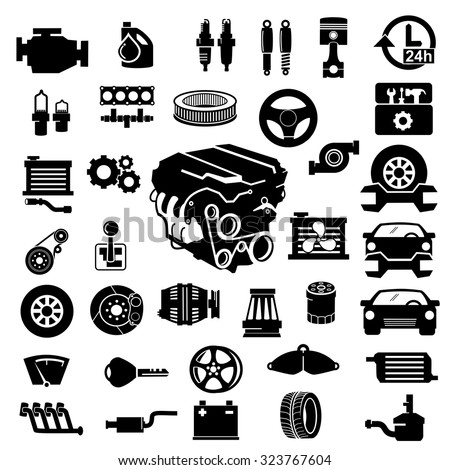 vector car parts set icons stock vector royalty free 323767604