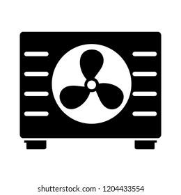 vector car radiator illustration - cooling system symbol, motor fan sign. vehicle part