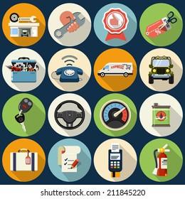 Vector Car Service Maintenance Icons