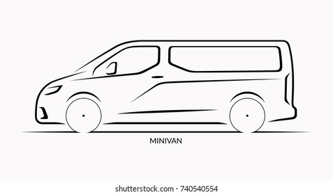 Vector car silhouette. Side view of minivan