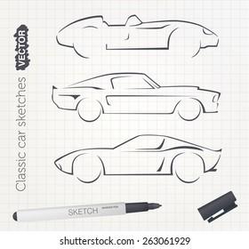 Vector car sketches