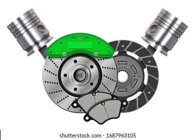 Vector Car Spares Concept. Car parts. Technical design. Car brake disk with caliper. Ceramic discs brake pads. Сar clutch kit. Clutch disc. Friction disk for car. Metallic pistons for engine.
