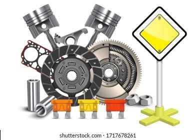 Vector Car Spares Concept. Car parts. Technical design. Vector illustration.