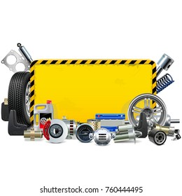 Vector Car Spares Yellow Frame isolated on white background