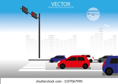 vector a lot of car stopping on the road because traffic jam.