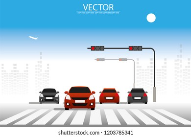 vector a lot of car stopping on the road on traffic light junction.car diving on the street.traffic jam