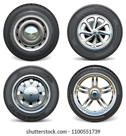Vector Car Tires with Retro and Modern Disks isolated on white background