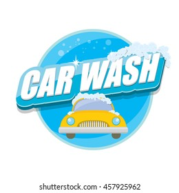 vector Car wash icon isolated on white. vector car wash sticker collection. vector car wash logo template. washing car label