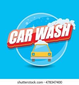 vector Car wash logo template. washing car label
