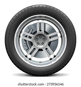 Vector Car Wheel with Disk Brake
