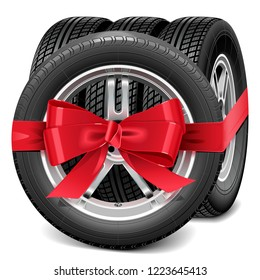 Vector Car Wheels with Red Bow isolated on white background