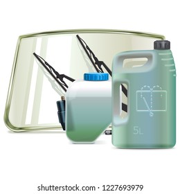 Vector Car Windshield Cleaning System Parts with Windshield Fluid isolated on white background