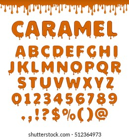 Vector caramel latin alphabet, abc. Sweet candy set of glossy and shiny brown letters isolated on white background. Liquid yellow honey text for lettering design.